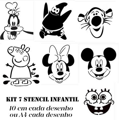 Desenhos Infantis Com 7 Stencil A4 Ou 10cm Submoda